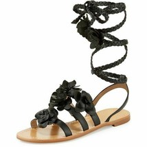 Tory Burch Blossom Gladiator Sandals Black Floral Shoes Flats Flip Flop ... - $99.00