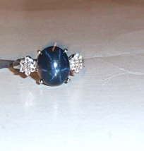Blue Star Sapphire Oval & Accent White Topaz Round Ring, 925, Size 8, 7.... - $105.00