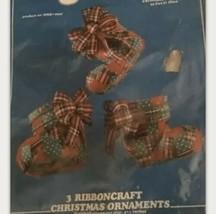 Vintage Plaid Christmas Needle Craft Holiday Ornaments Kit NEW RibbonCraft - $26.99