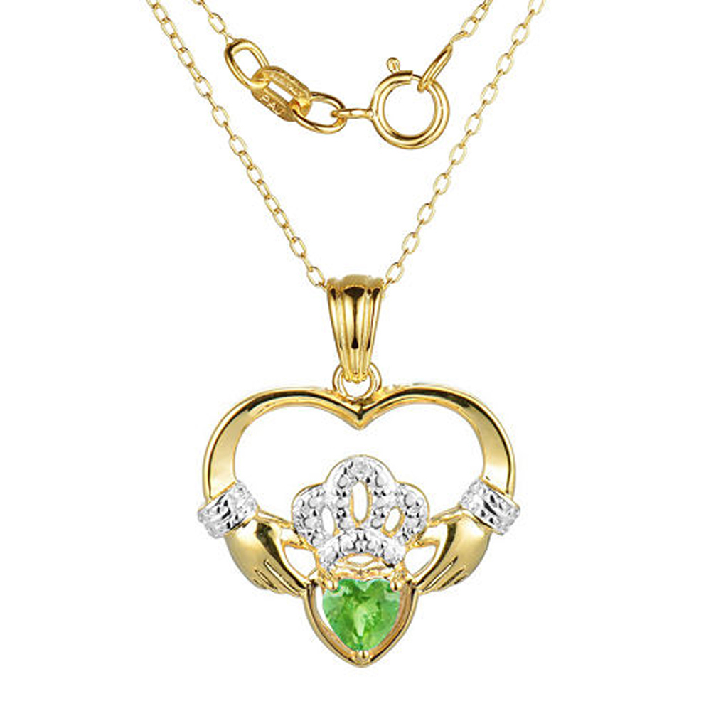 "Primary image for Heart-Shaped Peridot and Sim.Diamond Claddagh Pendant With 18"" Chain Necklace"