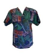 Barco scrub top size small print women's cotton blend front pockets - $9.69