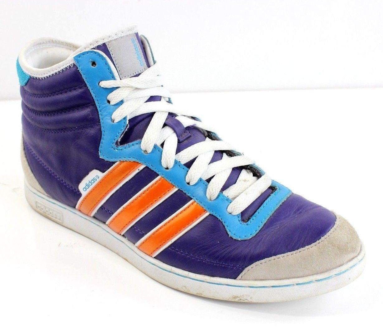 superior quality eca3d ec07d ... ebay adidas neo hi purple orange blue suede leather 3 stripe sneaker  shoes mens sz 9