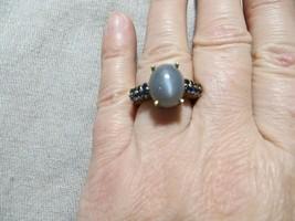 Vintage KARIS Yellow Gold filled Gray Natural Moonstone /CZ. Sapphires ring s.6 - $19.99