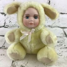 Baby In Yellow Bunny Rabbit Suit Plush Soft Doll Stuffed Animal Toy Vint... - $19.79