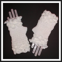 Women's White Gloves Fingerless Mitts Mittens Crocodile Women Ladies Eve... - $27.00