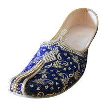 Men Shoes Traditional Loafers Indian Handmade Wedding Blue Khussa Jutties US 7 - $39.99