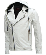 Designer New Magnificent White Men's Hooded Leather Jacket, men new styl... - $169.99