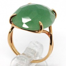 SOLID 18K ROSE GOLD RING, BIG GREEN AVENTURINE, CUSHION OVAL CUT MADE IN ITALY image 2