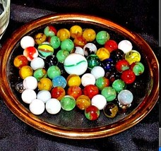 Marbles in a Custard Dish and 1 Shooter AA18 - 1174-D   50 Vintage image 2