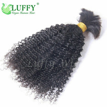Mongolian Human Hair Bulk For Braiding Afro Kinky Curly Bulk Human Hair ... - $31.63+