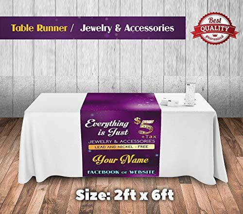 "Customize Jewelry Table Runner 24""x72"" Purple Sparkle Background Jewels Accessor"
