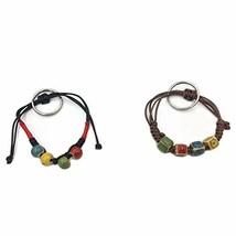 Bracelet Keychain Beaded Wrist Keyring Elastic Natural Stone (Brown and ... - $15.12