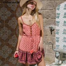 Pink Floral Bohemian Style Open Button V Neck Dress