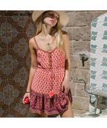 Pink Floral Bohemian Style Open Button V Neck Dress - $28.20