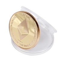 Gold Plated Commemorative Collectible Golden Iron ETH Ethereum Miner Coin - 1x image 2