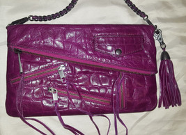 Rebecca Minkoff pink croc embossed leather Easy Rider date clutch crossbody - $125.00