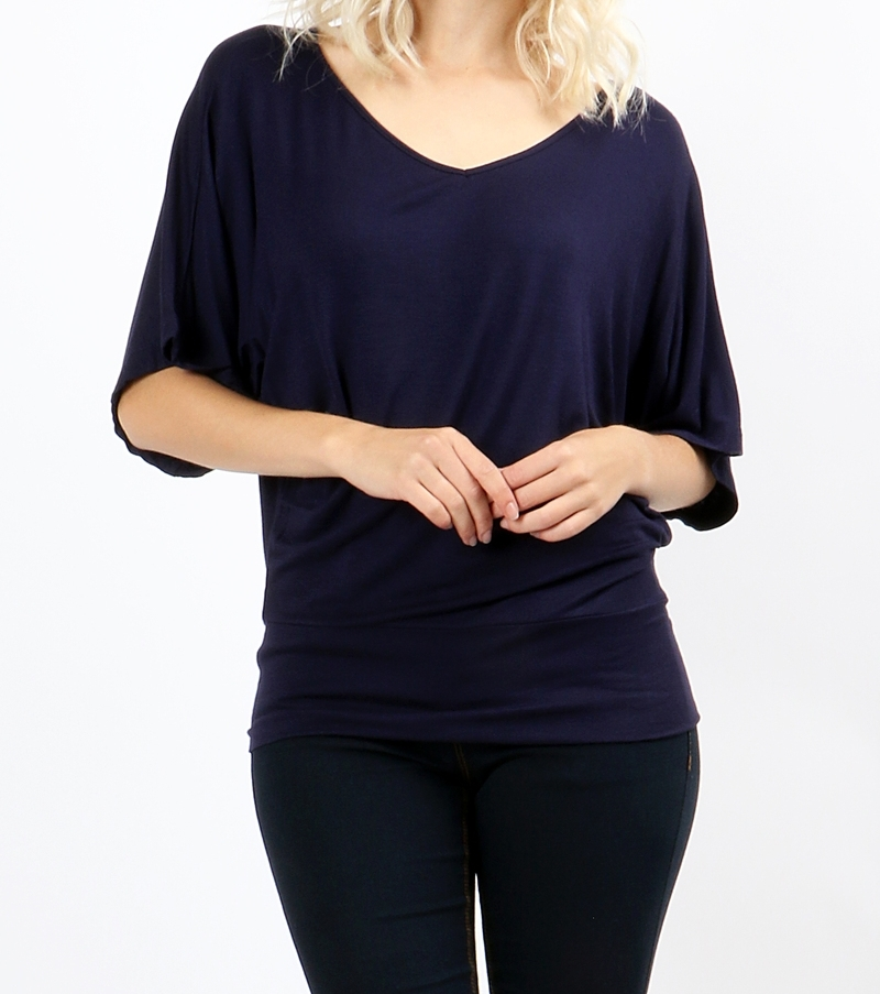 Dolman Sleeve Tops, Dolman Top with Banded Bottom, Navy Blue, Colbert Clothing