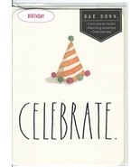 Rae Dunn Birthday Greeting Card Party Hat Celebrate Large Letters NIP Rare - $10.00