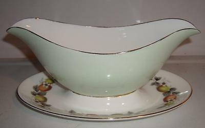 Primary image for Winston Bone China Gravy Boat w/Underplate 22KT Gold Trim England Fruit/Floral