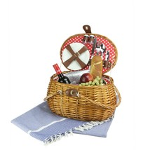 Northlight 2-Person Woven Honey Willow Polka Dotted Picnic Basket Access... - $63.10