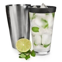 Cocktail Shaker Glass, Tin Mixing Glass Combo Stainless Steel Cocktail S... - $36.86 CAD