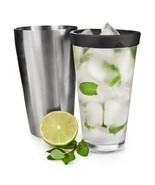 Cocktail Shaker Glass, Tin Mixing Glass Combo Stainless Steel Cocktail S... - $36.88 CAD