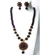 2 Side Floral Pendant Classy Necklace Earring Chain Jewelry Tribal Chic ... - $10.88