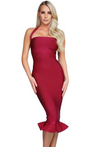 Wine Halter Mermaid Midi Bodycon Bandage Dress with Flare  - $79.20
