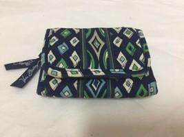 Vera Bradley Wallet Mosaic ID Credit Card Holder Tri Fold Blue Green White - $9.49