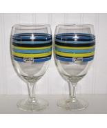 Two Fiesta Goblets Lapis, Cobalt, Lemongrass Stripe - $16.00