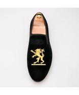 New Handmade Men's Black Fashion Embroidered Velvet Slip Ons Loafer Shoes - $129.99+