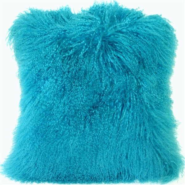 Primary image for Pillow Decor - Mongolian Sheepskin Turquoise Blue Throw Pillow