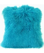 Pillow Decor - Mongolian Sheepskin Turquoise Blue Throw Pillow - $74.95
