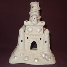 """Sand Castle Beach Candle Holder 8"""" Cream Party Lite Bisque Porcelain Decor P7306 - $19.99"""