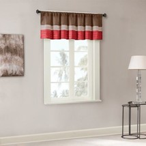 Luxury Deep Red & Brown Striped  Pintucked Window Valance - Rod Pocket - $35.14
