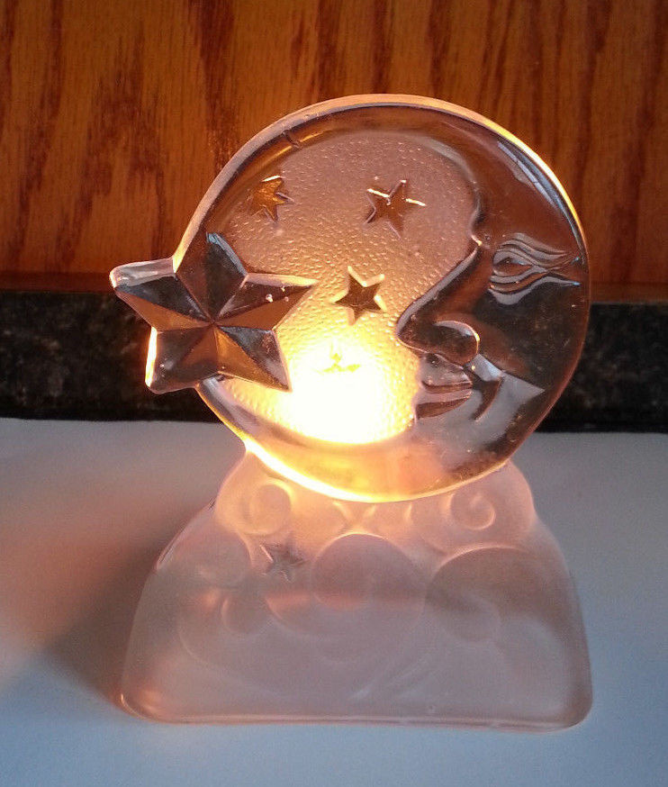 Moonbeam Tealight Candle Holder Stars Man in the Moon Crystal Partylite P0217