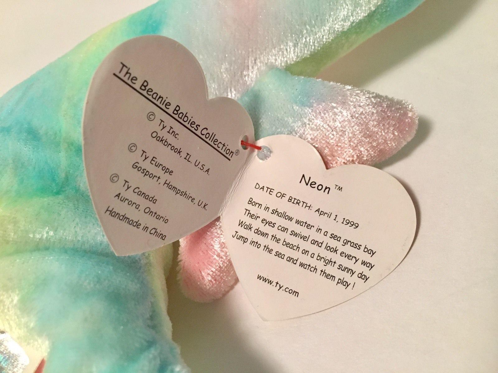 Ty Beanie Babies Plush Beanbag Neon the Seahorse Rainbow