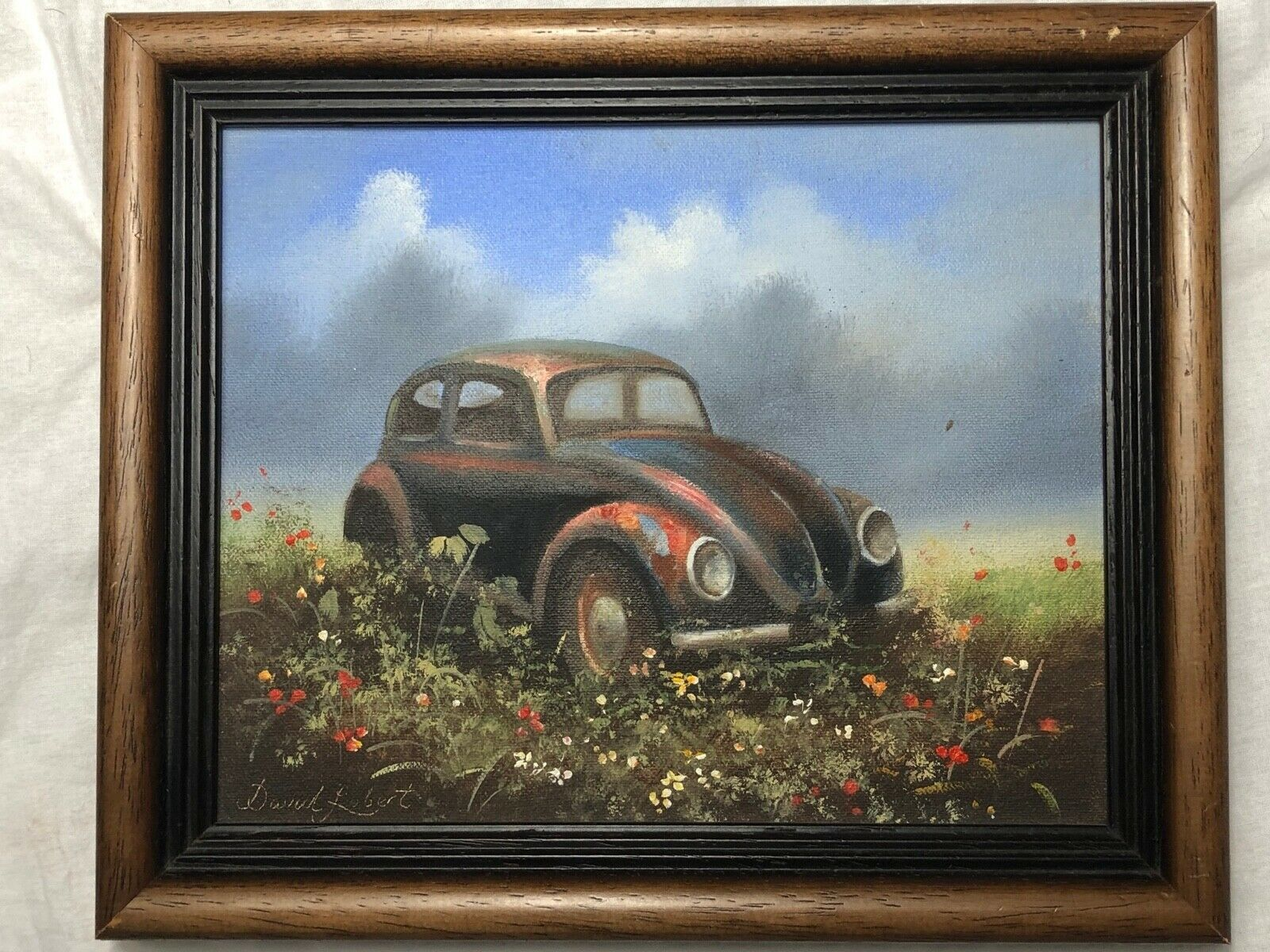 Primary image for Oil Painting Distressed VW Beetle Rusty Car In Floral Field Signed David Robert