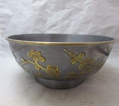 Vintage Chinese metal bowl with applied brass flowers - $38.99