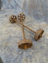 4 Factory Cart Wheels & 2 Axels Cast Iron Vintage Lineberry Industrial W... - $199.00
