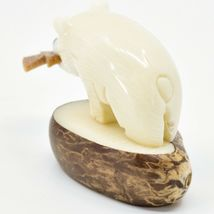 Hand Carved Tagua Nut Carving Polar Bear with Fish Figurine Made in Ecuador image 3