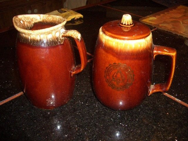"""Vintage Hull Pottery Brown Drip Glaze 7"""" STEIN OR PITCHER + 7 TALL PITCHER"""