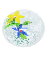 Clear Glass Paperweight Yellow & Blue Flowers - $47.51