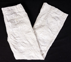 Express Design Studio Editor White Floral Embroidered Pants Size 6 Unique!  - $17.64