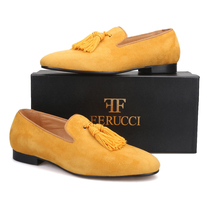 Handmade Men FERUCCI Yellow  suede with Big Yellow Tassel Slippers loafers Flat - $169.99