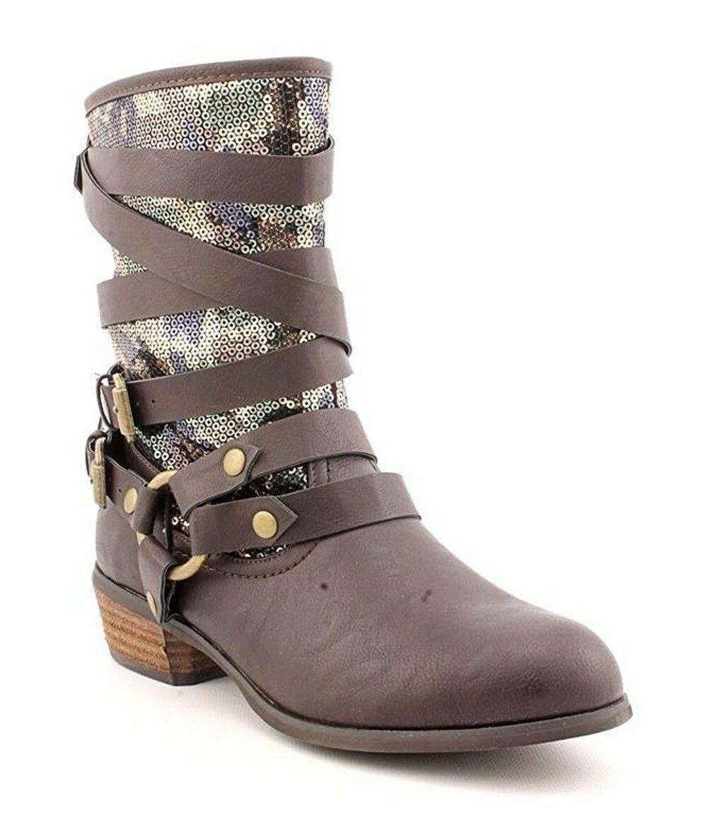 Not Rated Women's Chocolate Brown Camouflage Sequin Big Deal Mid Calf Boots NIB