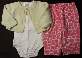 Girl's Size 3 M 0-3 Months Green Cardigan, Carter's Floral Top & FP Pink... - $13.00