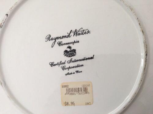 3 Raymond Waites Cornucopia Certified Intl Green Rim Fruit Dinner Dish Plates image 8