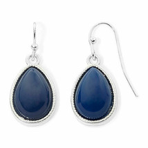 Liz Claiborne Women's Blue Bead Drop Earrings Silver Tone New - $14.84