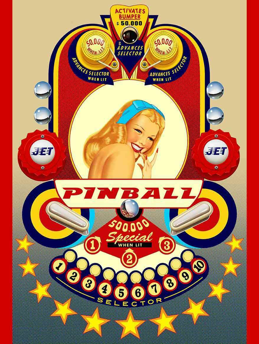 Primary image for Pinball Retro Pin Up Metal Sign by Terry Pastor
